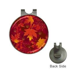 Autumn Leaves Fall Maple Hat Clips With Golf Markers by Simbadda