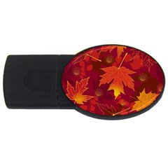 Autumn Leaves Fall Maple Usb Flash Drive Oval (4 Gb) by Simbadda