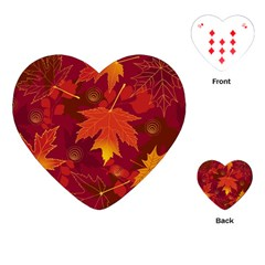Autumn Leaves Fall Maple Playing Cards (heart)  by Simbadda