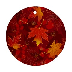 Autumn Leaves Fall Maple Round Ornament (two Sides) by Simbadda