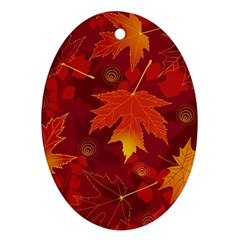 Autumn Leaves Fall Maple Oval Ornament (two Sides) by Simbadda