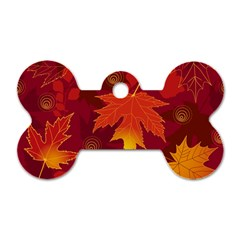 Autumn Leaves Fall Maple Dog Tag Bone (two Sides) by Simbadda