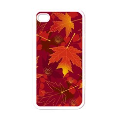 Autumn Leaves Fall Maple Apple Iphone 4 Case (white) by Simbadda