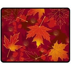 Autumn Leaves Fall Maple Double Sided Fleece Blanket (medium)