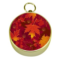 Autumn Leaves Fall Maple Gold Compasses by Simbadda