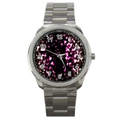 Background Structure Magenta Brown Sport Metal Watch by Simbadda