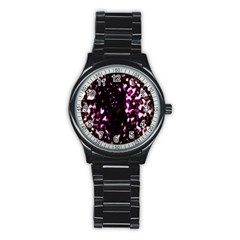 Background Structure Magenta Brown Stainless Steel Round Watch by Simbadda