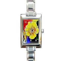 Beautiful Fractal Flower In 3d Glass Frame Rectangle Italian Charm Watch by Simbadda