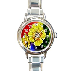 Beautiful Fractal Flower In 3d Glass Frame Round Italian Charm Watch by Simbadda
