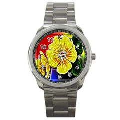 Beautiful Fractal Flower In 3d Glass Frame Sport Metal Watch by Simbadda