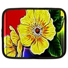 Beautiful Fractal Flower In 3d Glass Frame Netbook Case (xxl)  by Simbadda