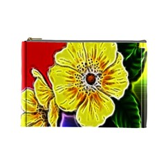 Beautiful Fractal Flower In 3d Glass Frame Cosmetic Bag (large)  by Simbadda