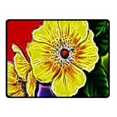 Beautiful Fractal Flower In 3d Glass Frame Fleece Blanket (small) by Simbadda