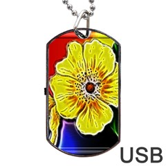 Beautiful Fractal Flower In 3d Glass Frame Dog Tag Usb Flash (one Side) by Simbadda