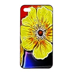 Beautiful Fractal Flower In 3d Glass Frame Apple Iphone 4/4s Seamless Case (black) by Simbadda