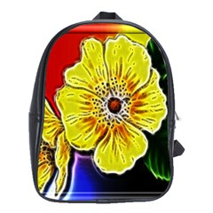 Beautiful Fractal Flower In 3d Glass Frame School Bags (xl)  by Simbadda