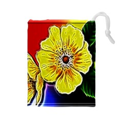 Beautiful Fractal Flower In 3d Glass Frame Drawstring Pouches (large)  by Simbadda