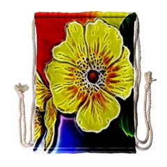 Beautiful Fractal Flower In 3d Glass Frame Drawstring Bag (large) by Simbadda