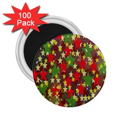 Star Abstract Multicoloured Stars Background Pattern 2 25  Magnets (100 Pack)  by Simbadda