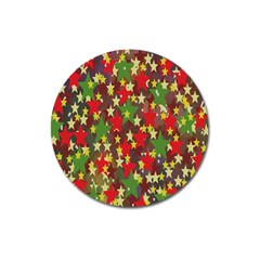 Star Abstract Multicoloured Stars Background Pattern Magnet 3  (round) by Simbadda