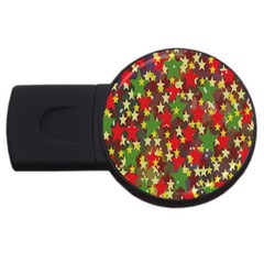 Star Abstract Multicoloured Stars Background Pattern Usb Flash Drive Round (4 Gb) by Simbadda