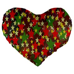 Star Abstract Multicoloured Stars Background Pattern Large 19  Premium Flano Heart Shape Cushions by Simbadda
