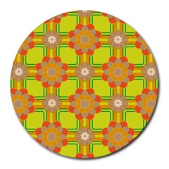 Floral Pattern Wallpaper Background Beautiful Colorful Round Mousepads by Simbadda