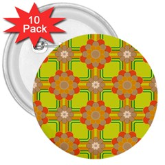 Floral Pattern Wallpaper Background Beautiful Colorful 3  Buttons (10 Pack)