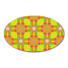 Floral Pattern Wallpaper Background Beautiful Colorful Oval Magnet by Simbadda