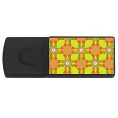 Floral Pattern Wallpaper Background Beautiful Colorful Usb Flash Drive Rectangular (4 Gb) by Simbadda