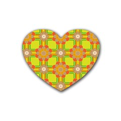 Floral Pattern Wallpaper Background Beautiful Colorful Rubber Coaster (heart)  by Simbadda