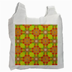 Floral Pattern Wallpaper Background Beautiful Colorful Recycle Bag (one Side) by Simbadda