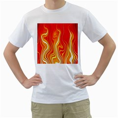 Fire Flames Abstract Background Men s T Shirt (white) (two Sided) by Simbadda
