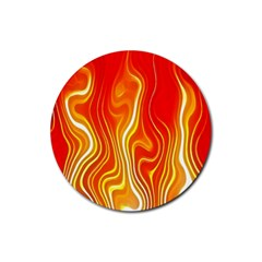 Fire Flames Abstract Background Rubber Round Coaster (4 Pack)  by Simbadda