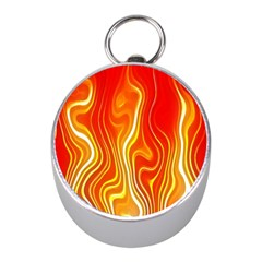 Fire Flames Abstract Background Mini Silver Compasses