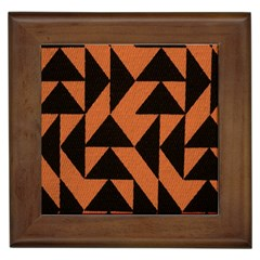 Brown Triangles Background Framed Tiles by Simbadda