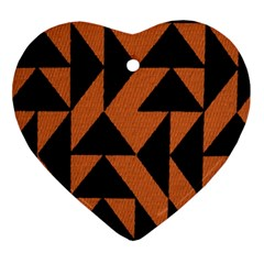 Brown Triangles Background Ornament (heart) by Simbadda