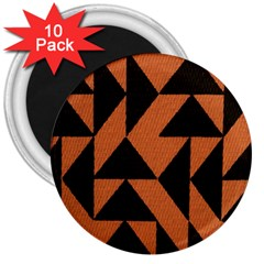 Brown Triangles Background 3  Magnets (10 Pack)