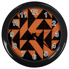 Brown Triangles Background Wall Clocks (black) by Simbadda
