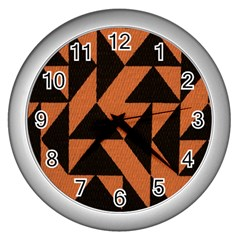 Brown Triangles Background Wall Clocks (silver)