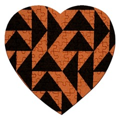Brown Triangles Background Jigsaw Puzzle (heart) by Simbadda