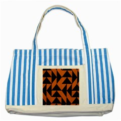 Brown Triangles Background Striped Blue Tote Bag by Simbadda
