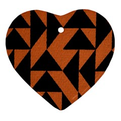 Brown Triangles Background Heart Ornament (two Sides)