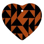 Brown Triangles Background Heart Ornament (Two Sides) Back