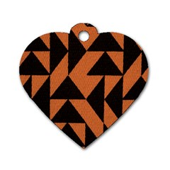 Brown Triangles Background Dog Tag Heart (two Sides) by Simbadda