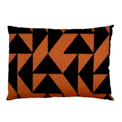 Brown Triangles Background Pillow Case by Simbadda