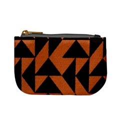 Brown Triangles Background Mini Coin Purses
