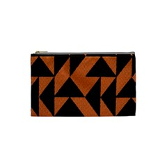 Brown Triangles Background Cosmetic Bag (small)  by Simbadda