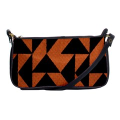 Brown Triangles Background Shoulder Clutch Bags by Simbadda