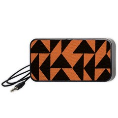 Brown Triangles Background Portable Speaker (black)
